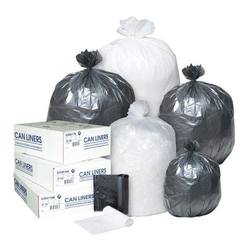 Inteplast High Density Roll Can Liner - 6 Micron - 24X33; 20 Rolls Per Case, 50 Bags Per Roll - Black 50/RL 20/CS