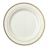 MASTERPIECE PREMIERE PLATE 10.25 IN IVORY W/GLD RIM