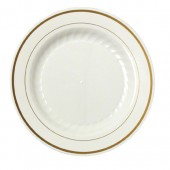 MASTERPIECE PREMIERE PLATE 6 IN IVORY W/GLD RIM